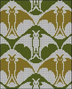 Bats! - Antique Cross Stitch