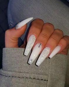 Bling Acrylic Nails, Cute Acrylic Nail Designs, Acrylic Nails Coffin Short, White Acrylic Nails, Best Acrylic Nails, Nail Art Designs, Gel Nails, Coffin Nails, Acrylic Art