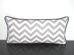 Grey lumbar pillow cover 21x11 chevron pillow for by anitascasa
