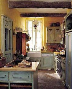 sweet little kitchen and fun article on kitchen design-Argentina