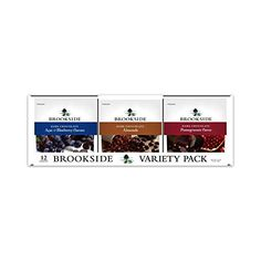 Brookside Dark Chocolate Variety Pack (12 Count)   Brookside Dark Chocolate Variety Pack (12 Count) BROOKSIDE chocolatiers have artfully blended exotic fruit juices and flavors from around the world to create the ultimate chocolate experience. The soft sweetened centers dipped in luscious dark chocolate provide an intriguing texture and exotic taste experience. The fresh roasted almonds are perfectly paired with dark chocolate and are an all time favorite.  http://www.chocolatepack..