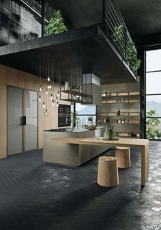 OPERA Industrial Kitchen With Island Without Handles 2