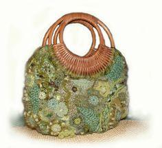 Handbag OOAK Freeform Crochet - Olive Mist