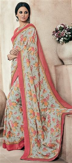 712046 Black and Grey, Pink and Majenta color family Printed Sarees, Silk Sarees in Art Silk fabric with Lace, Printed work with matching unstitched blouse.