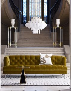 For your foyer. The Jonathan Adler Baxter Sofa will give any space a plush presence.