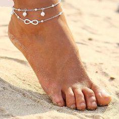 Elephant Anklet Bracelet Sunrise Vintage Boho Multi Layer Beach Barefoot Jewelry