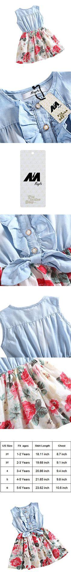 Mingao Little Girls Denim Floral Print Sleeveless Skirt Dresses 2-3 Years