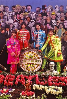 March 30, 1967. Sgt. Pepper's photo session.    We could see this iconic/ surrealist frame as a way to capture elements of NextNOW in the background. (the silhouettes of dancers, instruments, hands, Reggie Watts, the Dumpster Monster, etc)The Drum set could be in the center with the NextNOW Fest logo on it.