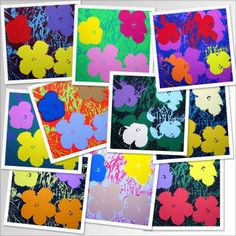 Splish Splash Splatter Warhol's flowers as inspiration. After printing 'leaves and stems' background using strips of tag board or scrap foam core dipped into paint, use colored tissue cut into flower shapes, wet paper and lay tissue flowers to print.