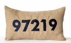 Burlap Monogram Pillows Custom Lumbar Monogram by AmoreBeaute