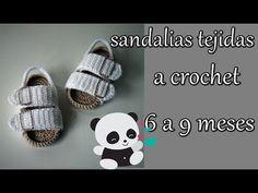 Children and Young Booties Crochet, Crochet Sandals, Crochet Slippers, Knit Crochet, Crochet Baby Clothes, Crochet Baby Shoes, Baby Patterns, Crochet Patterns, Baby Shower Labels