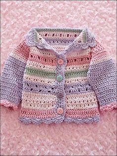 Girl's Striped Hat & Sweater - Girl& Striped Hat & Sweater pattern by Dianne Stein - Crochet Baby Sweaters, Crochet Hoodie, Crochet Baby Cardigan, Crochet Baby Clothes, Baby Knitting, Knit Crochet, Crochet Girls, Crochet For Kids, Hoodie Pattern