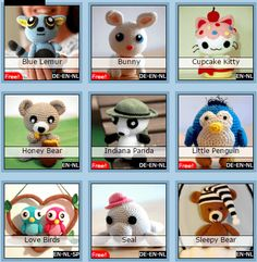 Sabrina's Crochet - 65 amigurumi patterns at the moment, lots of them are free! Crochet Tools, Knit Or Crochet, Crochet Gifts, Cute Crochet, Crochet Projects, Crochet Pokemon, Minion Crochet, Crochet Animal Amigurumi, Crochet Animals