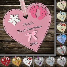 Personalised Baby's First 1st Christmas Wooden Heart tree decoration ornament