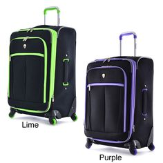 Constructed of 1200D polyester, this convenient and sleek carry-on features a dark color with eye catching trim in neon lime or purple. The four-wheel spinner system allows free movement in all directions.