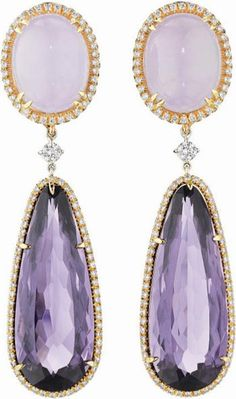 MARGHERITA BURGENER  A Pair of Jade and Amethyst Ear Pendants