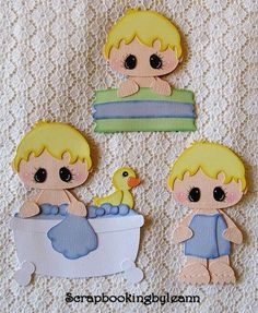Boy Bathtub Paper Piecing Set for Premade Pages, Cards or Borders