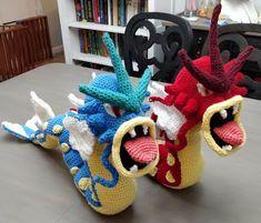 NERDpillo Handmade: Large Gyarados Crochet Pattern Free Pokemon with Amigurumi pattern Crochet Pattern Free, Pokemon Crochet Pattern, Cute Crochet, Amigurumi Patterns, Amigurumi Doll, Crochet Dolls, Crochet Patterns, Corsola Pokemon, Pokemon Gyarados