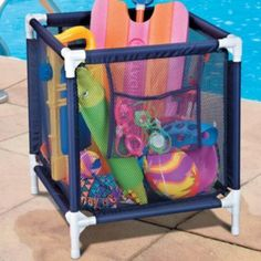 Pool Toy Storage Bin Allows toys to be out of the way and air dry during the swimming season - take a gander Fox Fox Pounds Pool Toy Storage, Outdoor Toy Storage, Toy Storage Bins, Backyard Storage, Garage Storage, Storage Ideas, Pool Organization, Pool Care, Water Toys