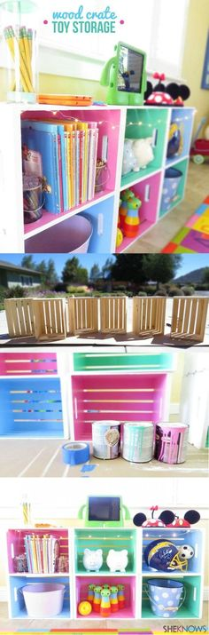 DIY wood crate toy storage