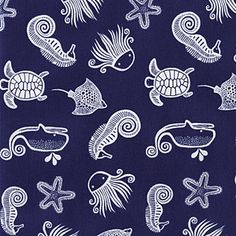 Wild Fabric by Dear Stella Tossed Ocean Sea Wildlife White Seahorse Whales Turtles on Navy Blue