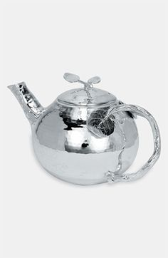 "From Nordstrom -- Michael Aram ""Botanical Leaf"" teapot -- hammered and polished silver plated."