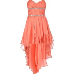 River Island Coral Forever Unique Prom Dress found on Polyvore