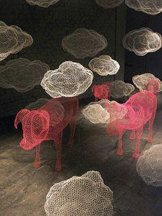 Chicken-wire installation by Benedetta Mori Ubaldini. LOVE!
