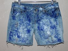 Acid wash Distressed and painted jean SHORTS ... by Forever peace