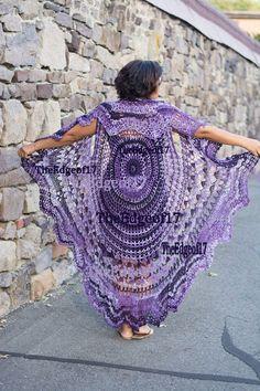 Bohemian Vest Purple, Hippie Boho Vest, Long Hippie Vest, Stevie Nicks Style vest, Made to Order Crochet Circle Vest, Cardigan Au Crochet, Gilet Crochet, Crochet Vest Pattern, Black Crochet Dress, Crochet Circles, Crochet Jacket, Crochet Shawl, Knit Crochet