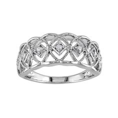1/10 Carat T.W. Diamond Sterling Silver Openwork Ring (White) from Kohl's. Saved to Jewelry.