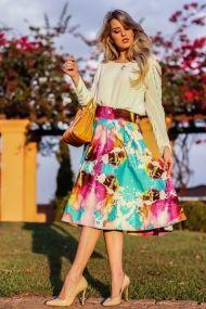 Marina Casemiro, look do dia, saia midi, estampada, florida, blusa branca, detalhes manga, bolsa laranja, coach, analoren, ecommerce, fashion blogger -13
