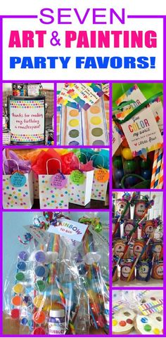 7 Art & Painting party favor ideas for kids. Children will have a blast with these fun art & painting party favors. Art Party Foods, Art Party Activities, Art Party Cakes, Art Party Decorations, Kids Art Party, Craft Party, Party Ideas For Kids, Kunst Party, Art Themed Party