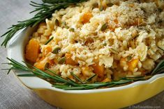 This recipe was inspired by the first vegetarian restaurant in the world -- Hiltl. A creamy pumpkin risotto.
