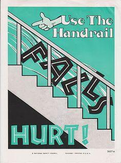 FALLS HURT! vintage work safety poster