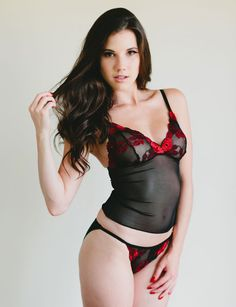 ce15c58eb6 Sheer Black Mesh Camisole With Red and Black Lace Cups -  Amaryllis  Style -