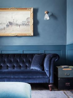 Dark Blue Couch in Blue Dorset House by Mark Lewis, Photo by Rory Gardiner