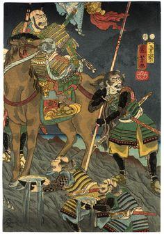 """Japanese Warriors   Tattoo Ideas & Inspiration - Japanese Art   Kuniyoshi - """"Battle of Kawanakajima"""", 1854   #Japanese #Art #Warrior"""