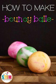 to Make Bouncy Balls How to make bouncy balls! A kids' favorite DIY idea! Great STEM challenge for kids!How to make bouncy balls! A kids' favorite DIY idea! Great STEM challenge for kids! Science Week, Summer Science, Science Fair Projects, Science For Kids, Science Fun, Awesome Science Experiments, Science Ideas, Science Party, Physical Science