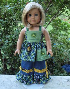 American Girl Doll Clothes John Deere 2 piece Set Swing Top Ruffle Jeans SewSoNancy Boutique