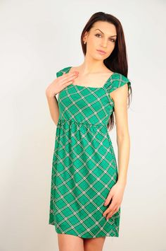 Rochie RVL verde cu imprimeu in carouri Ro 2, One Shoulder, Shoulder Dress, Dresses, Fashion, Green, Vestidos, Moda, Fashion Styles