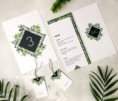 Botanical Garden // On the day wedding stationery for modern bohemian wedding themes. There are lots of options from table plans to the table stationery. This is the table number, menu and guest place name tags from the collection.  Watercolour leaf details, modern typography and geometric patterns.