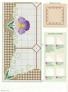 Cross Stitch Borders, Cross Stitch Flowers, Cross Stitch Patterns, Borders And Frames, Bead Loom Patterns, Loom Beading, Table Linens, Embroidery Stitches, Needlepoint