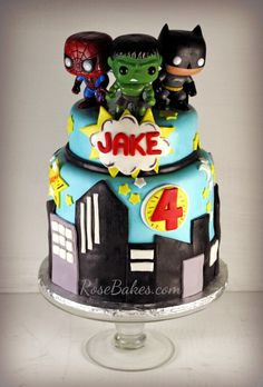 Super Heroes Cake & Cake Pops....I like this cake but why do ppl always mix Marvel & DC characters...that's incorrect!!