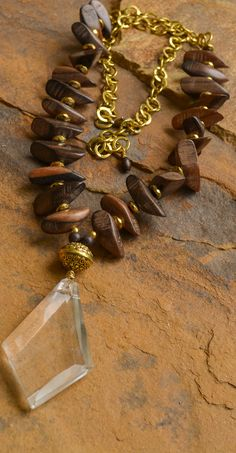 Ebony Wood Chandelier Necklace