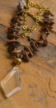 Ebony Wood Chandelier Necklace
