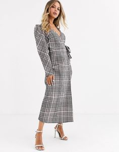Browse online for the newest ASOS DESIGN wrap maxi dress with puff sleeves in check styles. Shop easier with ASOS' multiple payments and return options (Ts&Cs apply). Strapless Mini Dress, Maxi Wrap Dress, Bodycon Dress, Maxi Styles, Fitness Models, Asos, Dresses For Work, Shirt Dress, Sleeves