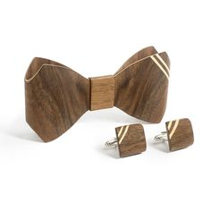 Bow Tie And Cufflink Set - Walnut