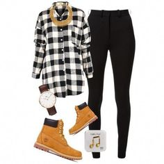 A fashion look from February 2015 featuring Victoria Beckham pants, Timberland boots and Ben-Amun necklaces. Browse and shop related looks. Timberland Outfits Women, Timberland Stiefel Outfit, Timberland Heels, Timberland Fashion, Swag Outfits, Stylish Outfits, Fashion Outfits, Swag Fashion, Dope Fashion