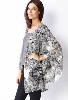 Paisley Print Kimono https://picvpic.com/women-tops-blouses-shirts/paisley-print-kimono#ivory~black?ref=QA8LwA